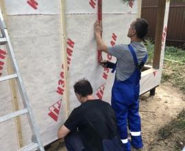 Монтаж ветро - влаго защиты, на ОСБ плиты внешних стен
