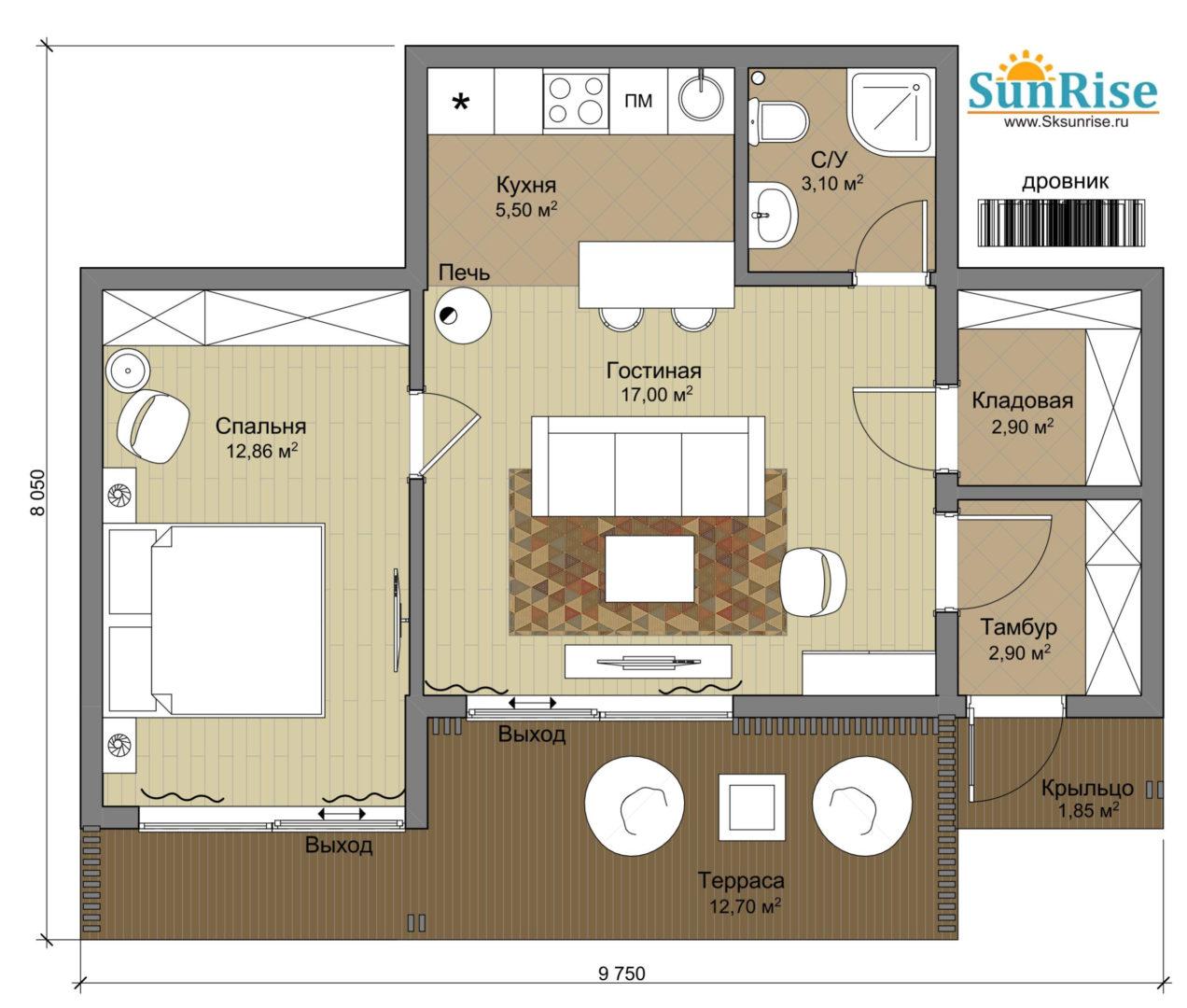 """Двухкомнатный одноэтажный дом с террасой """"Солнечный-2"""""""