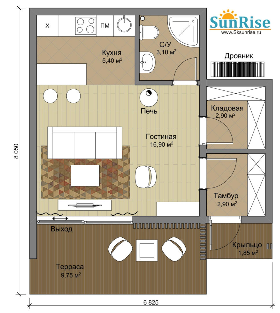 """Каркасный одноэтажный однокомнатный дом-студия """"Солнечный"""""""